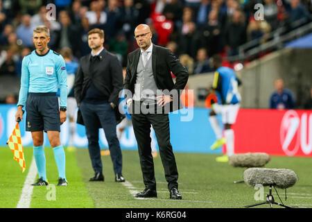 London, Großbritannien. 13 Sep, 2017. Peter Bosz (Dortmund) Fußball: Borussia Dortmund Manager Peter Bosz während - Stockfoto