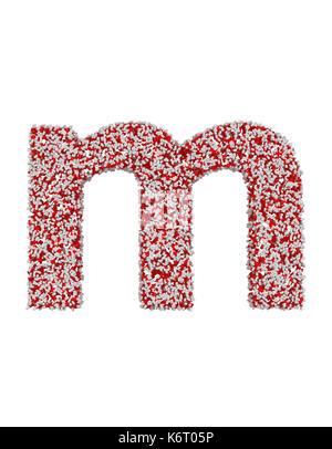 3D-Render von roten und weißen Alphabet von Pillen. kleine Buchstaben d mit Freistellungspfaden. Auf weissem Hintergrund - Stockfoto