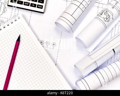 Engineering Heizung. Konzept Heizung. Projekt der Heizung für Haus. - Stockfoto
