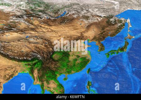 Physische Karte von Ostasien. Detaillierte Sat-Blick auf die Erde und seine Landschaftsformen. Elemente dieses Bild - Stockfoto