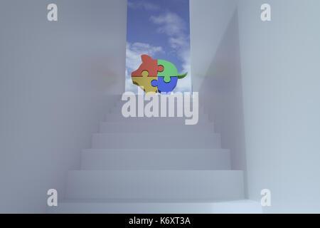3D-Rendering der Treppe mit Piggy puzzle Bausteine Bausteine gegen den blauen Himmel - Stockfoto