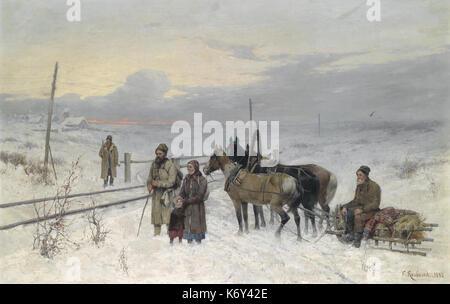 Franz Roubaud Warten Auf Den Zug 1882 - Stockfoto