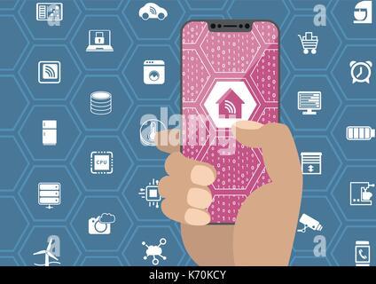 Smart Home Automation Konzept mit Hand, die Blende smartphone. Symbole und rahmenlosen Display als Vektor Illustration. - Stockfoto
