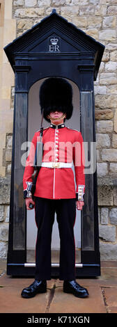 Beefeater Sentry die Bewachung der Tower, London, UK - Stockfoto