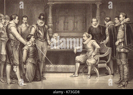 Die gunpowder Plot, Guy Fawkes das Niederknien vor König James I, 1605 - Stockfoto
