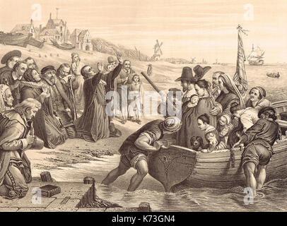 Abfahrt der Pilgerväter von Delfshaven, Delft, an Bord der Ehrenpreis, 1620 - Stockfoto
