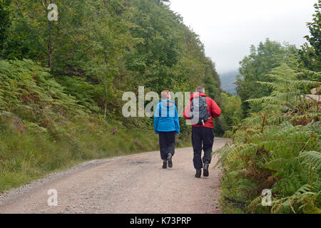 Menschen zu Fuß entlang der Ennerdale Lake, Lake District, Großbritannien - Stockfoto