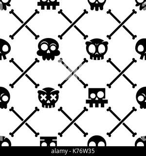 Halloween Totenkopf Vektor nahtlose Muster, Mexikanische niedlichen schwarzen Schädel mit Knochen Design, Dia de - Stockfoto