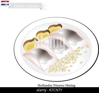 Niederländische Küche, Hollandse Nieuwe Haring Oder Traditionelle Rohstoffe  Und Leicht Gesalzenem Hering. Einer