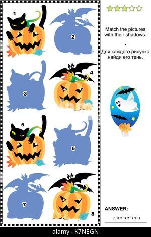Halloween themed visuelle Puzzle oder Bild Rätsel mit Süßigkeiten ...