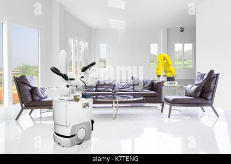 Automatische mobile Roboter Getränke in Smart Home, Technik 4.0 Konzept - Stockfoto