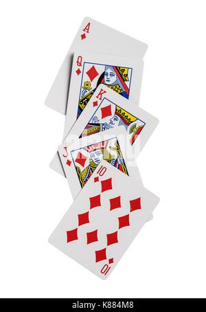 Kombination von Karten Diamanten Anzug poker casino. Auf weissem Hintergrund - Stockfoto