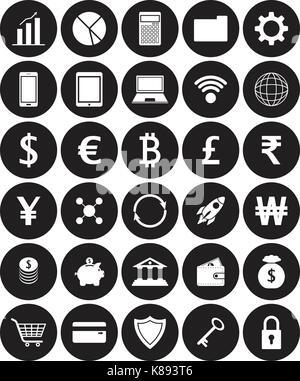 Vektor einfach zu bedienende 30 weißen flachen Symbole mit mehreren Währungen auf schwarze Kreise, die in der Technologie, - Stockfoto