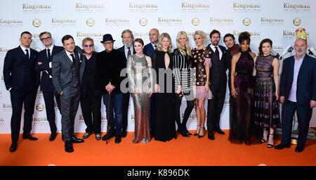 Die Besetzung des Kingsman Teilnahme an der Weltpremiere von kingsman: Der goldene Kreis, bei Cineworld in Leicester - Stockfoto