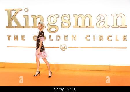 London, Großbritannien. 18 Sep, 2017. Poppy Delevigne besucht die KIngsman: Der goldene Kreis Welt Film Premiere - Stockfoto