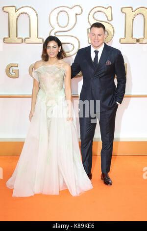 London, Großbritannien. 18 Sep, 2017. Channing Tatum, Jenna Dewan, Kingsman: Der Golden Circle - Weltpremiere, Leicester - Stockfoto