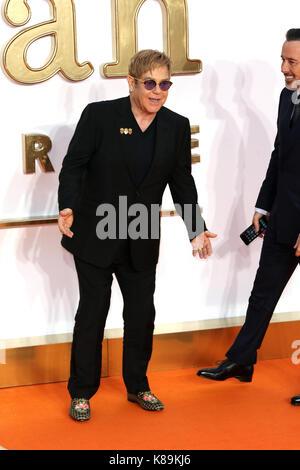 London, Großbritannien. 18 Sep, 2017. Elton John, Kingsman: Der Golden Circle - Weltpremiere, Leicester Square, - Stockfoto