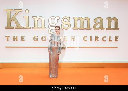 London, Großbritannien. 18 Sep, 2017. Julianne Moore, Kingsman: Der Golden Circle - Weltpremiere, Leicester Square, - Stockfoto