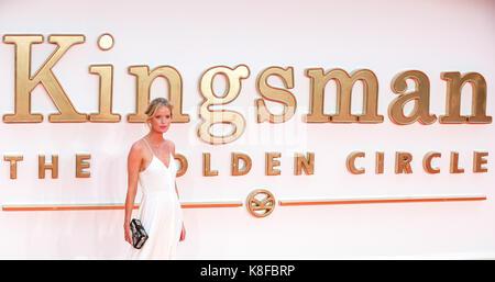 Leicester Square. London. UK 18. Sep 2017. Caroline Winberg Ankunft auf dem kingsman: Der goldene Kreis Weltpremiere - Stockfoto