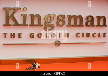 Leicester Square. London, Großbritannien. 18 Sep, 2017. JB Möpse in der kingsman: Der goldene Kreis Weltpremiere - Stockfoto
