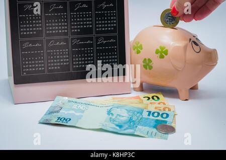 Tolles Konzept für Wirtschaft, Kalender, Sparschwein, echten brasilianischen Geld Notizen. Frau Hand einfügen Münze - Stockfoto