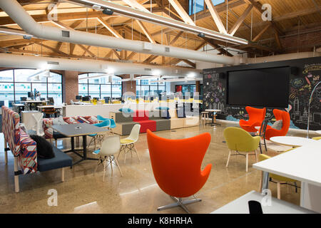 Trendigen, modernen offenen Konzept loft Büro mit großen Fenstern, Tageslicht und ein Layout Zusammenarbeit, Kreativität - Stockfoto