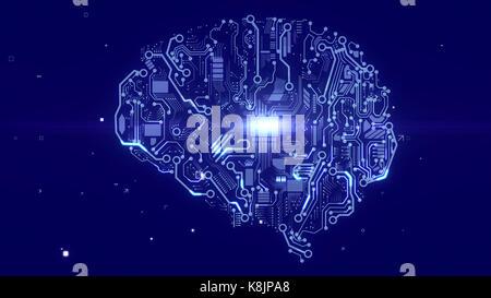 Futuristische 3D-Darstellung eines Android suchen Gehirn mit funkelnden Schaltungen, Geräte, ein plazma Suche CPU - Stockfoto