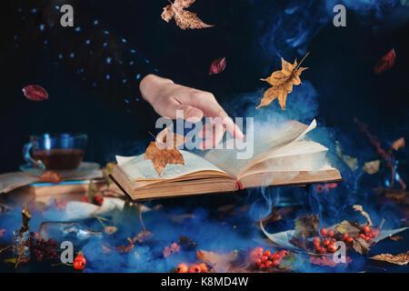 Stillleben mit schwebenden Buch der Zaubersprüche, Herbst Blätter, rote Beeren, Gläsern und Flaschen, die auf einem - Stockfoto