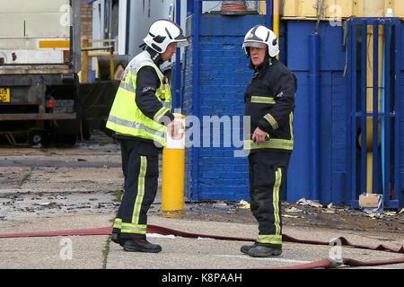 Tottenham. Nördlich von London, UK. 20 Sep, 2017. Nach dem Brand, der große Teile eines gewerblichen Immobilien - Stockfoto