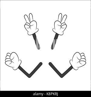 Bild von Cartoon menschlichen Handschuhe hand mit Arm Geste. Vector Illustration auf weißem Hintergrund. - Stockfoto