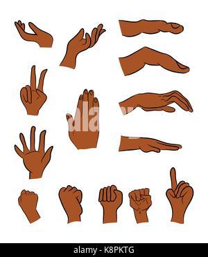 Bild von Cartoon Mann in schwarz, negro menschliche Geste. Vector Illustration auf weißem Hintergrund. - Stockfoto
