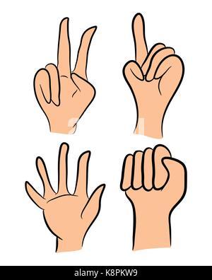 Bild von Cartoon menschliche Geste. Vector Illustration auf weißem Hintergrund. - Stockfoto