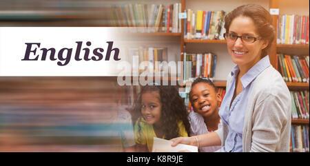 Englischer Text auf weißem Hintergrund gegen Portrait von Schüler und Lehrer Lesen in der Bibliothek