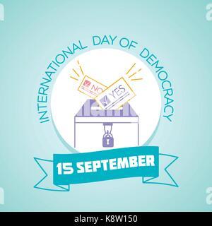 Kalender für jeden Tag am 15. September. Grußkarte. Urlaub - Internationaler Tag der Demokratie. Symbol in der linearen - Stockfoto