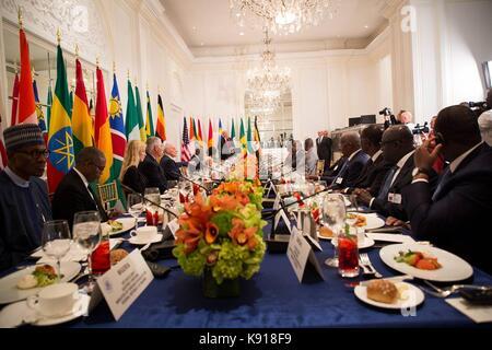 New York, New York, USA. 21. September 2017. Us-Präsident Donald Trump Adressen ein Mittagessen mit afrikanischen - Stockfoto