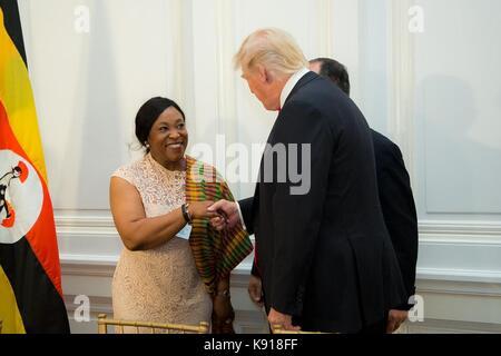 New York, New York, USA. 21. September 2017. Us-Präsident Donald Trump trifft sich mit afrikanischen Staats- und - Stockfoto