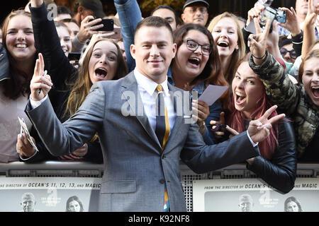 """Niederländische Premiere von """"Logan Lucky"""" im Pathé Tuschinski in Amsterdam, Niederlande. Aufmachung: Channing Tatum - Stockfoto"""