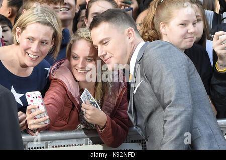 """Niederländische Premiere von """"Logan Lucky"""" im Pathé Tuschinski in Amsterdam, Niederlande. Mit: Channing Tatum Wo: - Stockfoto"""