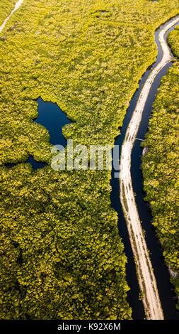Luftaufnahme von eine unbefestigte Straße durch überfluteten Mangrovenwäldern läuft - Stockfoto