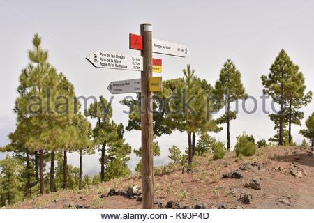 Ruta de la Cresteria Wanderweg Wegweiser, Caldera de Taburiente National Park La Palma Kanarische Inseln. - Stockfoto