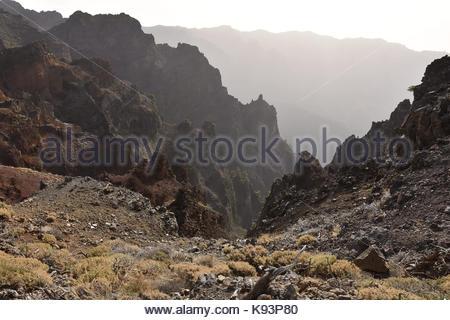 Vulkanische Berge der Caldera de Taburiente National Park La Palma Kanarische Inseln. Ruta de la Cresteria Wanderweg - Stockfoto