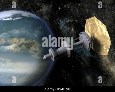 Sonde mit Solar Sail in der Nähe eines Planeten - Stockfoto