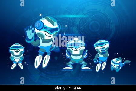 Moderne Roboter Icons Set Chatbot künstliche Intelligenz Technologie Konzept Rasant nach oben. Digitales Design - Stockfoto