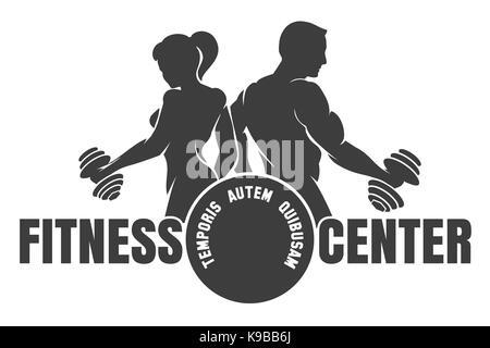 Fitness Club Logo mit der Ausübung sportlicher Mann und Frau weiß, Vector Illustration isoliert - Stockfoto