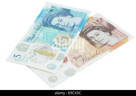 Die neu eingeführte Währung des Vereinigten Königreichs - das Polymer zehn Pfund (£ 10). HINWEIS - Stockfoto