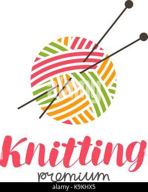 Stricken Logo oder Label. Handarbeit, Stricken, Ball von Garn und Nadeln Symbol. Schriftzug Vector Illustration