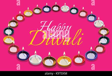 Diwali Grußkarte Abbildung mit traditionellen beleuchteten Öl Ton Lampe oder Diya mit Happy diwali Text - Stockfoto