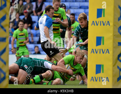Reading, Großbritannien. 24. September, 2017. Aviva Premiership Rugby London Irish v Northampton Saints im Madejski - Stockfoto