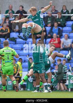 Reading, Großbritannien. 24. September, 2017. Aviva Premiership Rugby London Irish v Northampton Saints im Madejski - Stockfoto