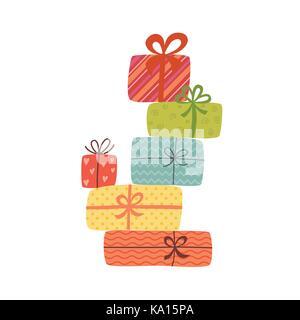Haufen bunt verpackte Geschenkboxen. Viele Geschenke. - Stockfoto